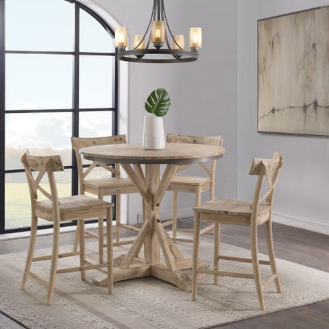The Gray Barn Whistle Stop Round Counter Height 5-piece Dining Set-Table and Four Stools