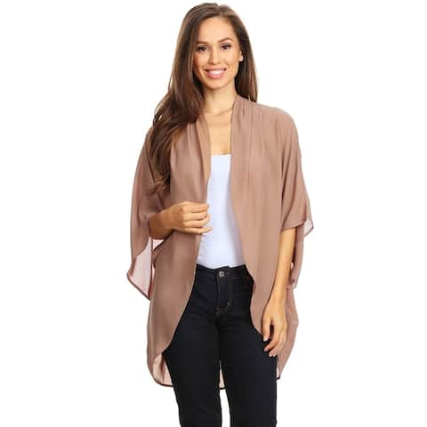 Solid Floral Print Casual Comfy Kimono Sleeve Open Front Cardigan