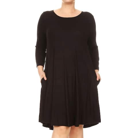 Solid Basic Casual Rayon Spandex Plus Size Round Neck Pleated Short Midi Dress
