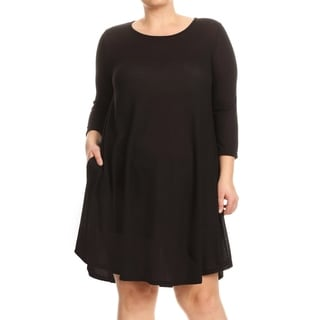 Link to Solid Basic Short A-Line Relaxed Fit Side Pocket Plus Size Tunic Knit Dress Similar Items in Tops