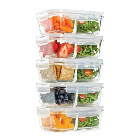Set of 5 Divided Glass Food Storage Containers, 27 ounces