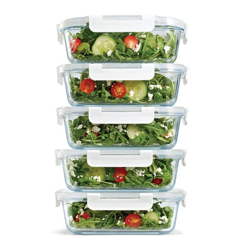 Set of 5 Glass Food Storage Containers, 35 ounces