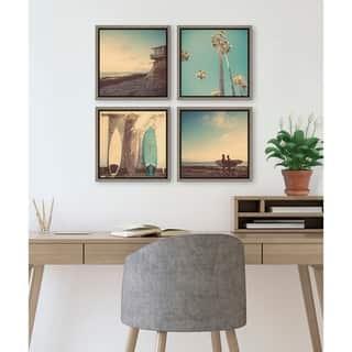 DesignOvation Sylvie Beach Framed Canvas Set By Shawn St. Peter - Gray