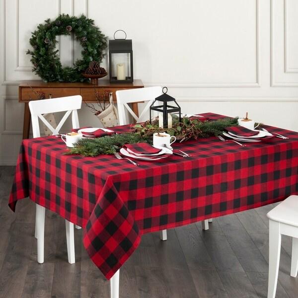 Farmhouse Living Holiday Buffalo Check Tablecloth