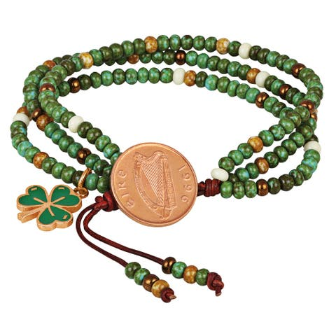 Irish Penny Coin Shamrock Charm Leather Multi Strand Czech Bead Bracelet