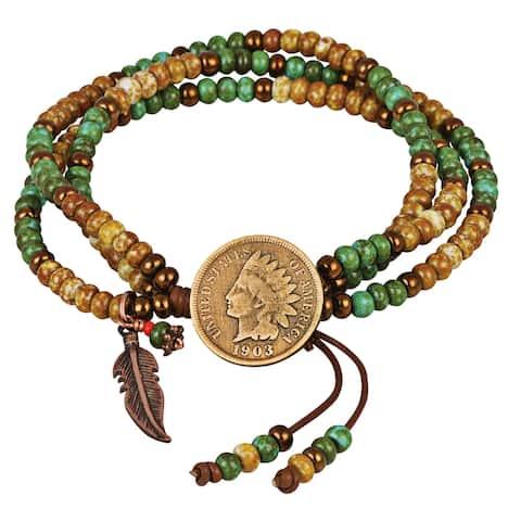 Indian Cent Coin Leather Multi Strand Czech Bead Bracelet