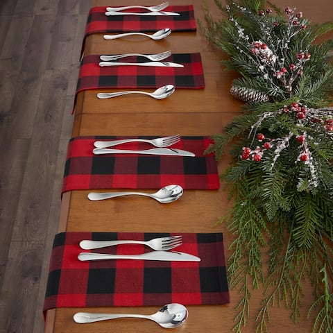 "Farmhouse Living Holiday Buffalo Check Napkins, Set of 4 - 20""x20"""