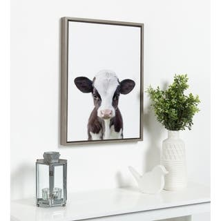 DesignOvation Sylvie Baby Cow Portrait Framed Canvas by Amy Peterson