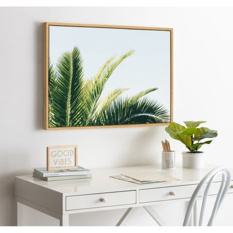 Kate and Laurel Sylvie Tropical Palm Framed Canvas by Amy Peterson