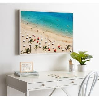 DesignOvation Sylvie Tropical Beach Framed Canvas by Simon Te