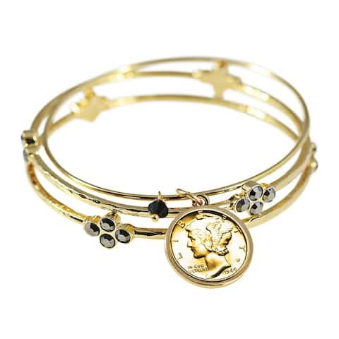 Gold Layered Silver Mercury Dime Triple Bangle Bracelet Set with Black Crystals