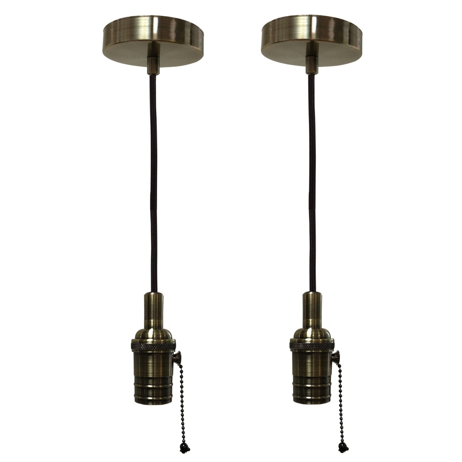 Shop Black Friday Deals On Style Antique Brass Pull Chain Pendant Light Socket And Canopy Overstock 29147127