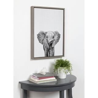 Kate and Laurel Sylvie Baby Elephant Framed Canvas by Simon Te Tai