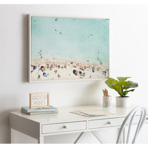 DesignOvation Sylvie Beach From Above Framed Canvas by Amy Peterson