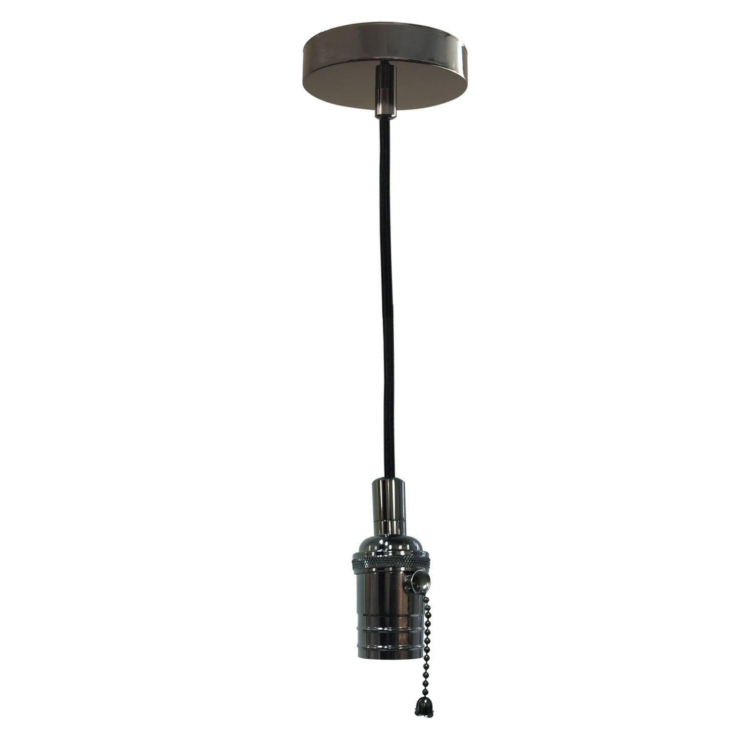 Shop Black Friday Deals On Style Gun Metal Gray Pull Chain Pendant Light Socket And Canopy Overstock 29147215