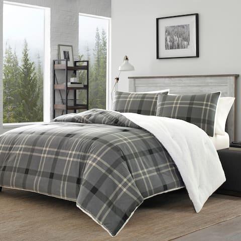 Eddie Bauer Yarrow Point Grey Flannel Sherpa Comforter Set