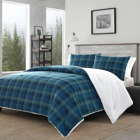 Eddie Bauer Monroe Blue Plaid Flannel Sherpa Comforter Set