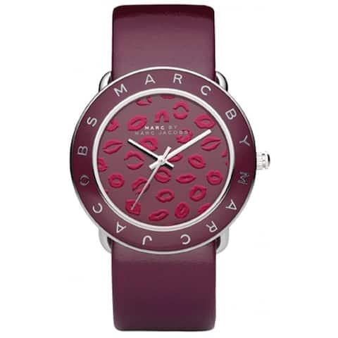 Marc Jacobs Women's MBM1162 'Amy' Lips Burgundy Leather Watch