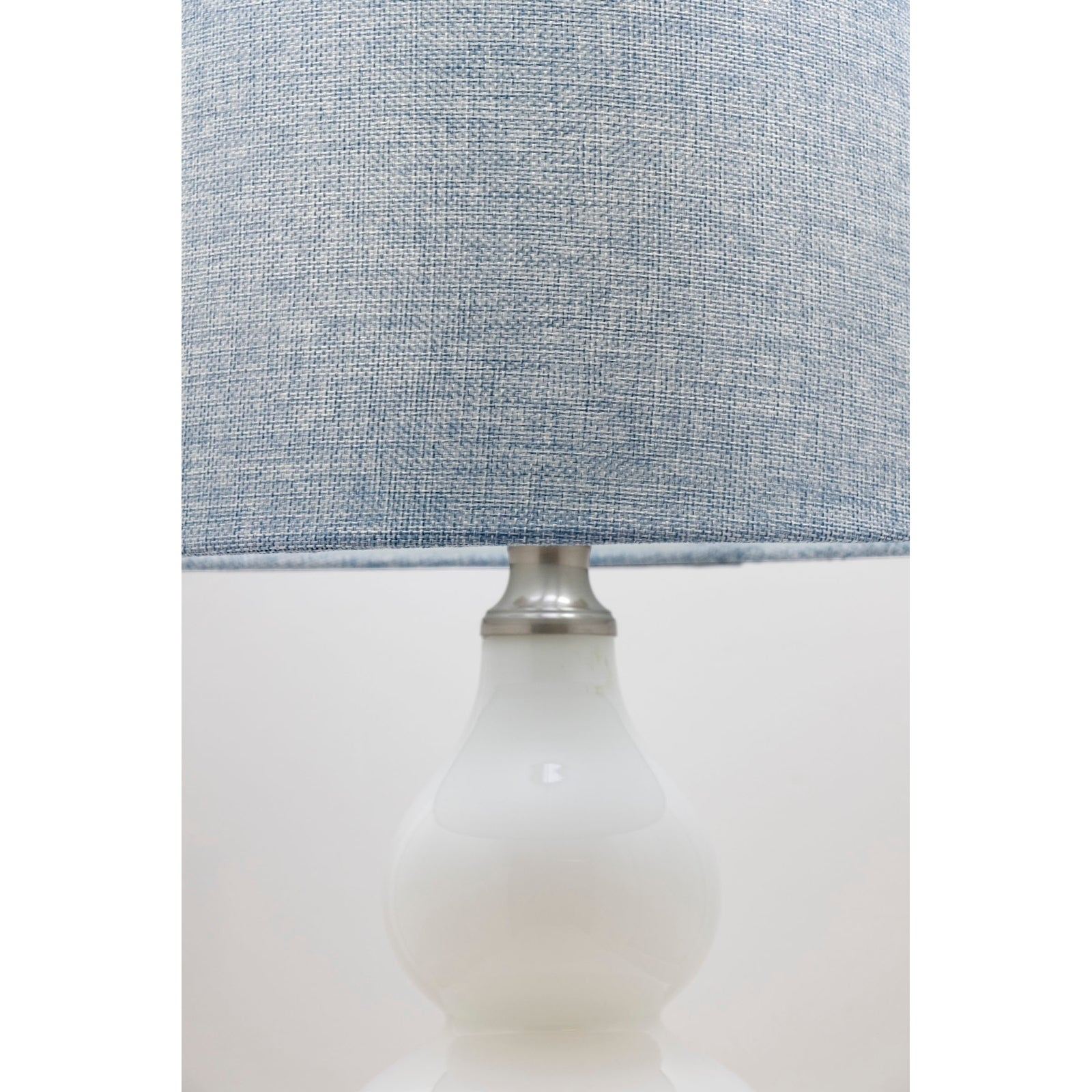 21 5 Glossy White Table Lamp Set W Blue Gray Textured Linen Tapered Drum Shades On Sale Overstock 29153368