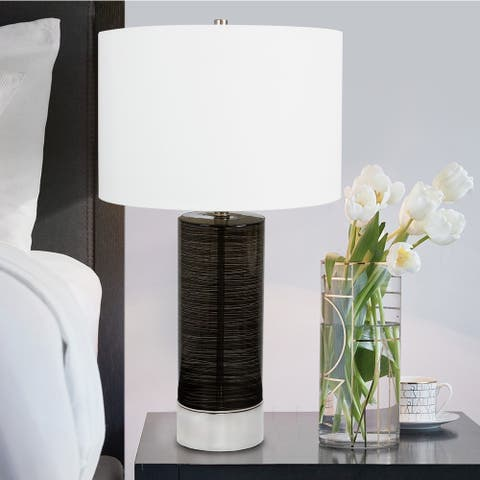 Carson Carrington Sadelsten 28-inch Winding Black Glass Table Lamp