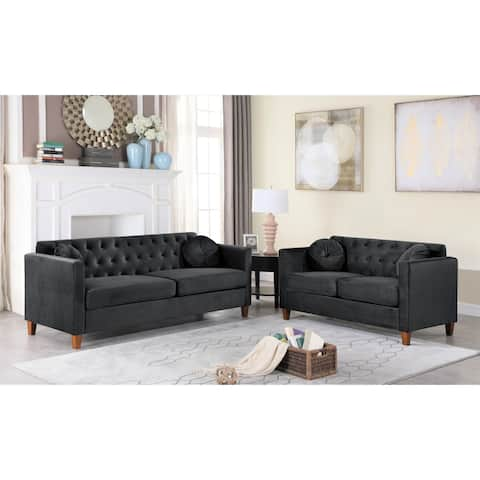 Persaud Velvet Chesterfield Living RoomSofa and Loveseat