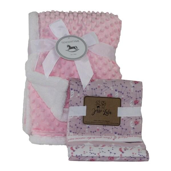 Popcorn Sherpa & Galaxy Baby Blanket Gift Set. Opens flyout.