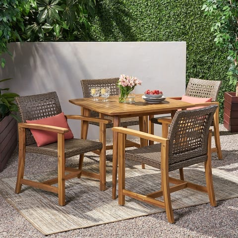 Clausen Outdoor 4 Seater Acacia Wood Dining Set by Christopher Knight Home