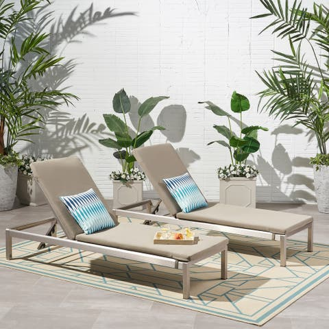 Cape Coral Outdoor Chaise Lounge with Cushion (Set of 2) by Christopher Knight Home