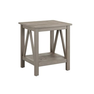 Wooden End Table with Bottom Shelf and Inverted V Design Sides, Gray