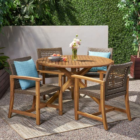 Crestview Outdoor 4 Seater Acacia Wood Dining Set by Christopher Knight Home