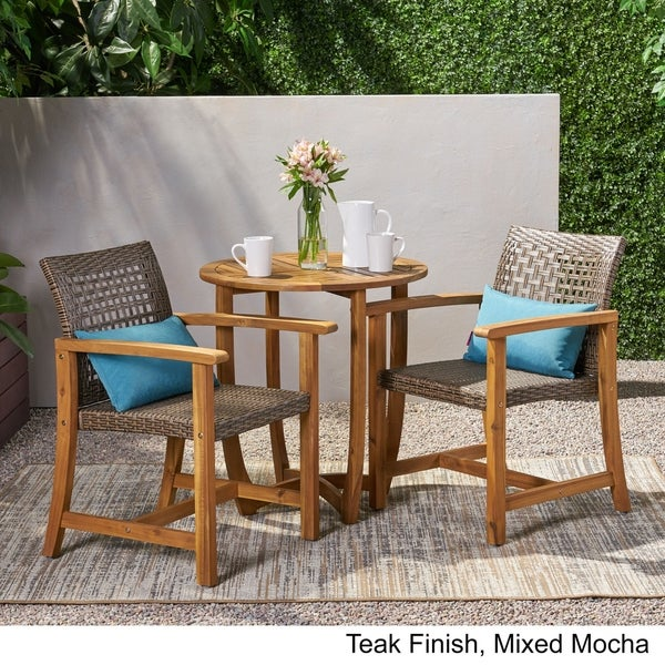 Doral Outdoor 2 Seater Acacia Wood Dining Set by Christopher Knight Home