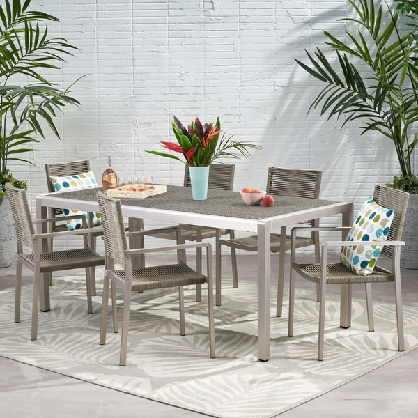 Lapis Outdoor Modern 6 Seater Aluminum Dining Set with Wicker Table Top by Christopher Knight Home