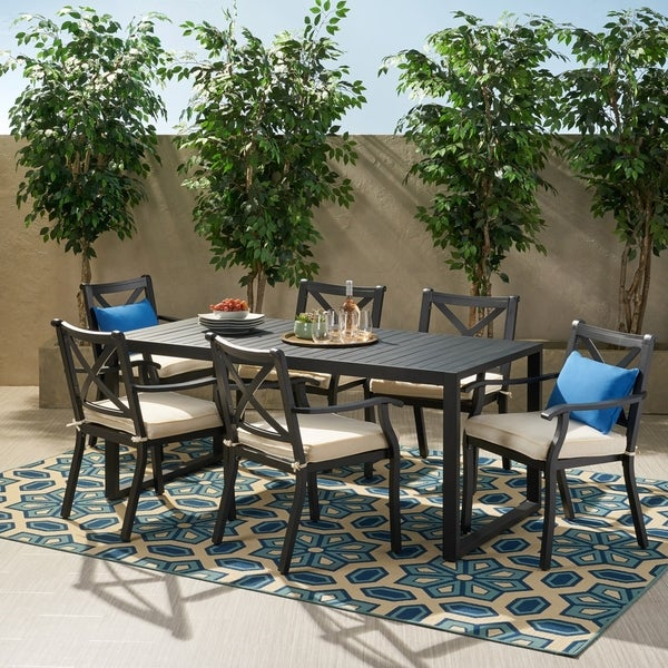 Navan Outdoor 6 Seater Aluminum Dining Set by Christopher Knight Home