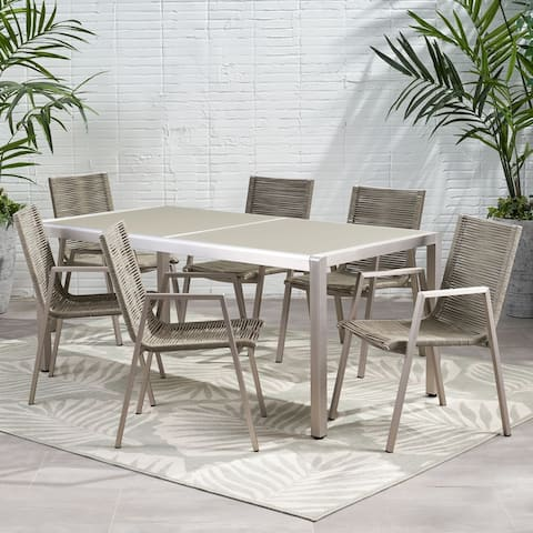Grafton Outdoor Modern 6 Seater Aluminum Dining Set with Tempered Glass Top by Christopher Knight Home
