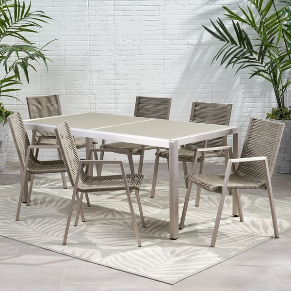 Grafton Outdoor Modern 6 Seater Aluminum Dining Set with Tempered Glass Top by Christopher Knight Home. Opens flyout.