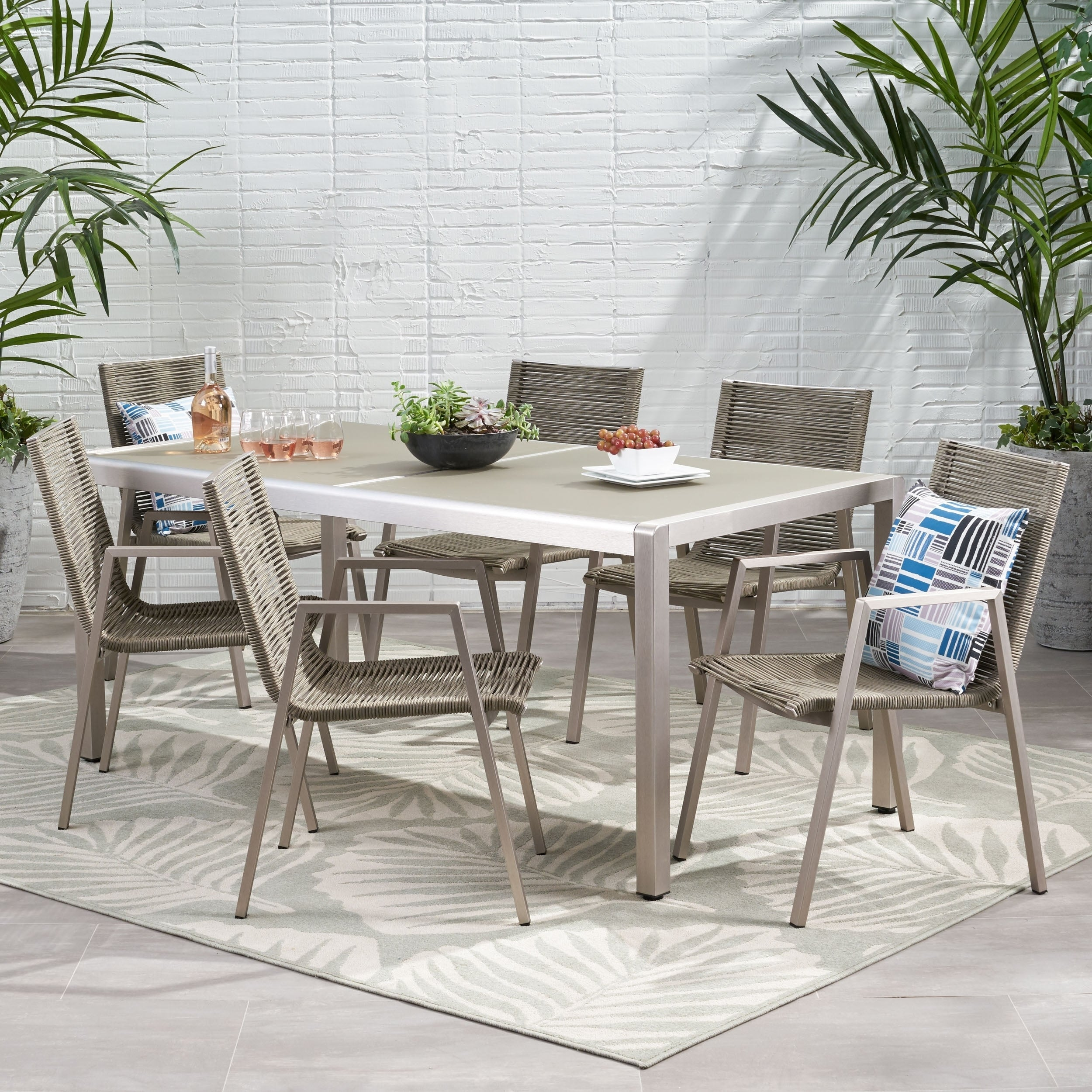 Grafton Outdoor Modern 6 Seater Aluminum Dining Set With Tempered Glass Top By Christopher Knight Home Overstock 29156474