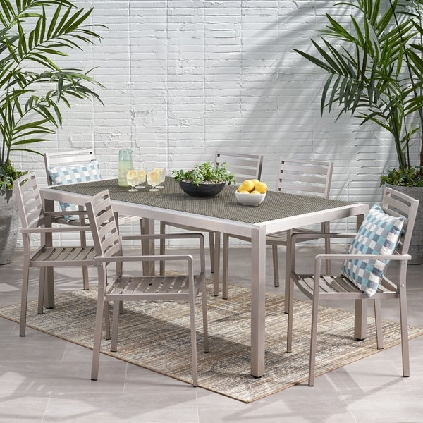 Cape Coral Outdoor Modern 6 Seater Aluminum Dining Set with Wicker Table Top by Christopher Knight Home