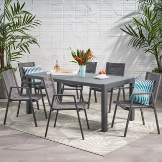Lazuli Outdoor Modern 6 Seater Aluminum Dining Set with Tempered Glass Table Top by Christopher Knight Home