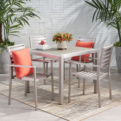 Cape Coral Outdoor Modern 4 Seater Aluminum Dining Set with Tempered Glass Table Top by Christopher Knight Home