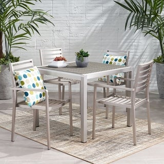 Cape Coral Outdoor Modern 4 Seater Aluminum Dining Set with Wicker Table Top by Christopher Knight Home