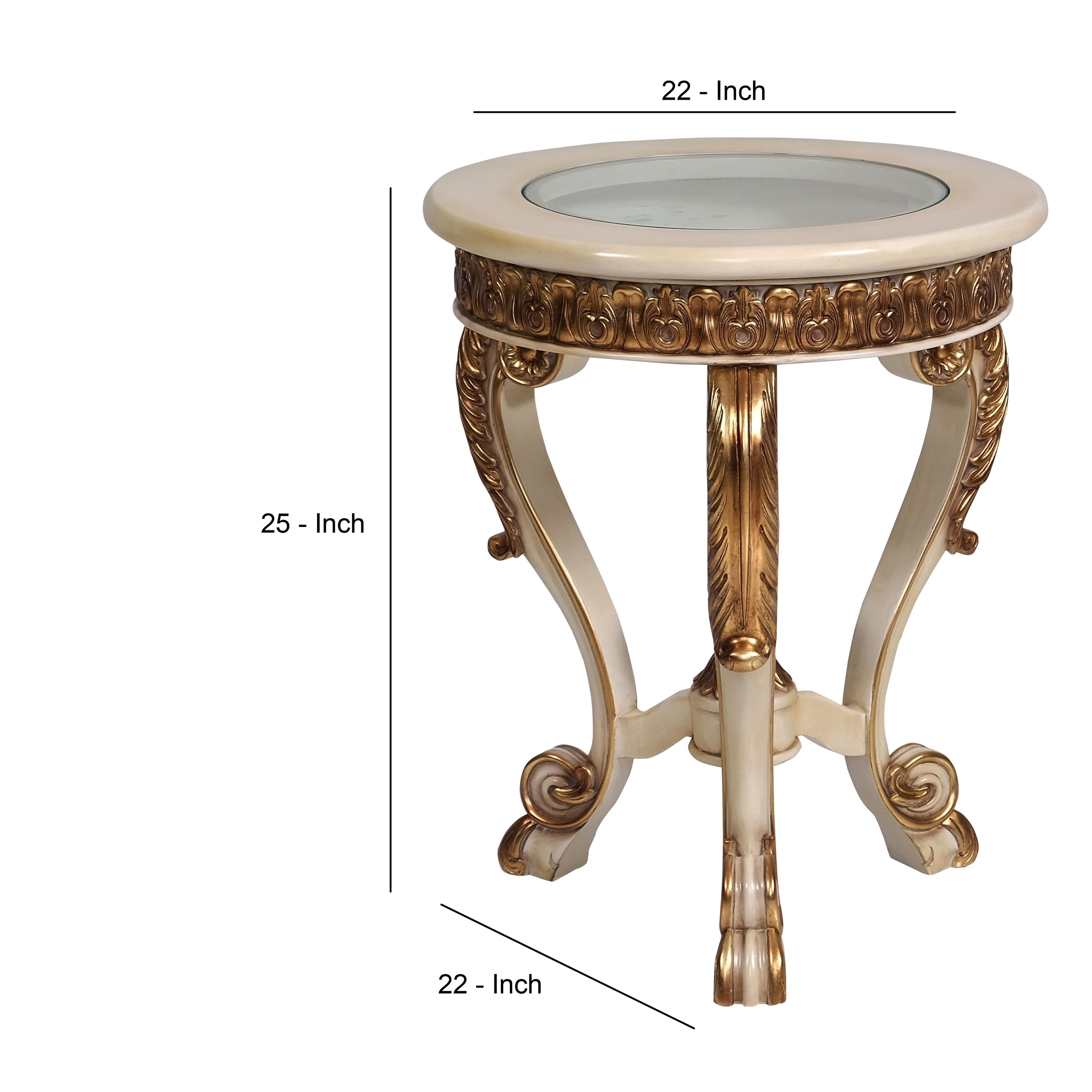 Traditional Wooden End Table With Scrolled Legs Beige And Cream