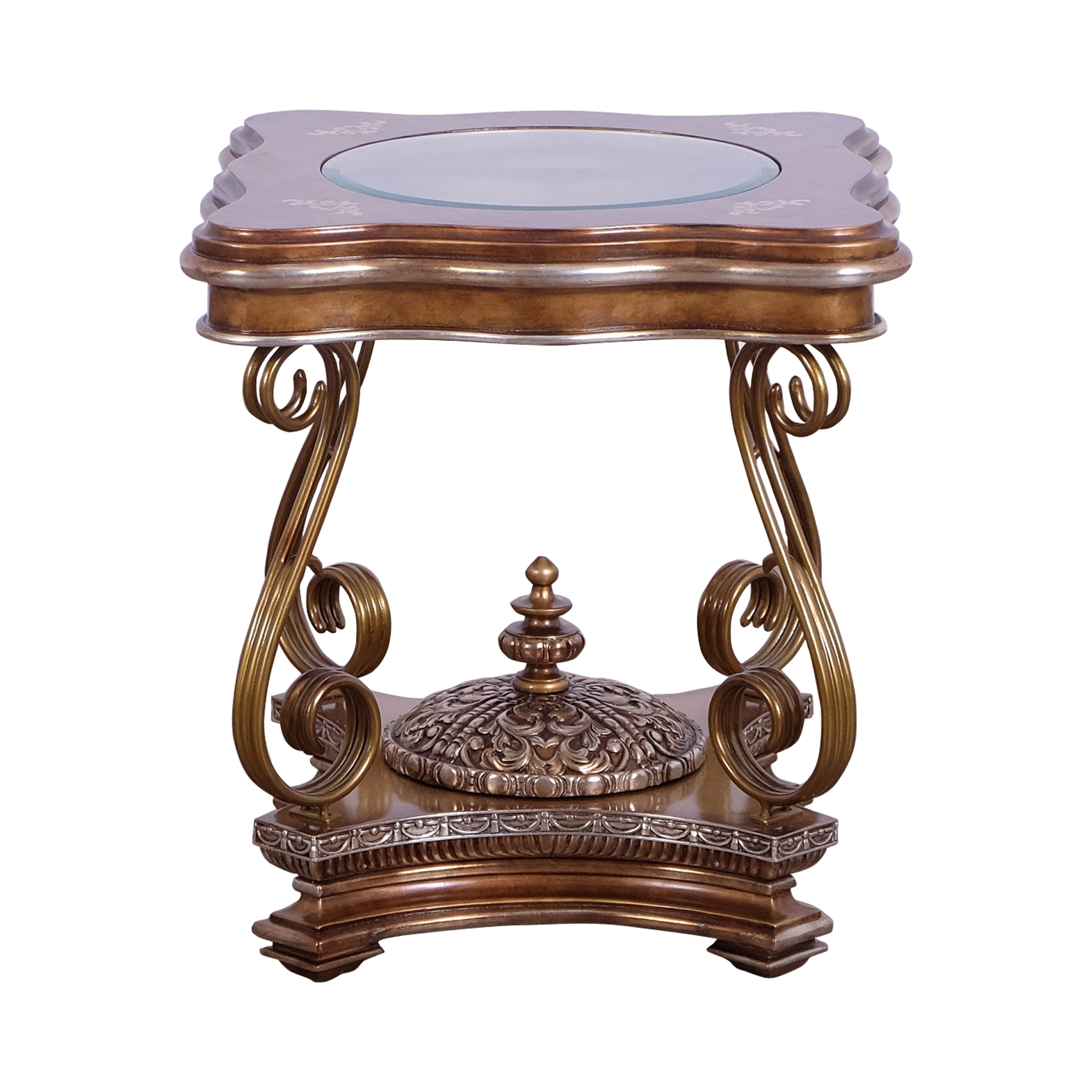 Wooden End Table With Scrolled Metal Legs And Finial Center Multicolor