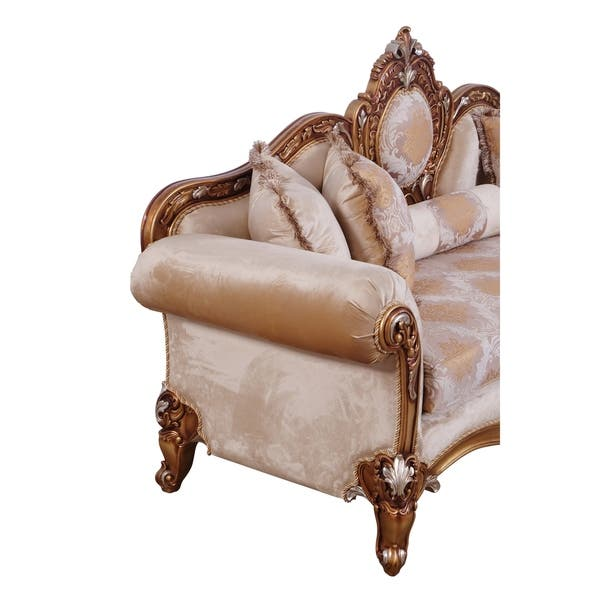 Baroque Style Carved Wooden Sofa With Rolled Armrest Beige And Gold Overstock 29158138