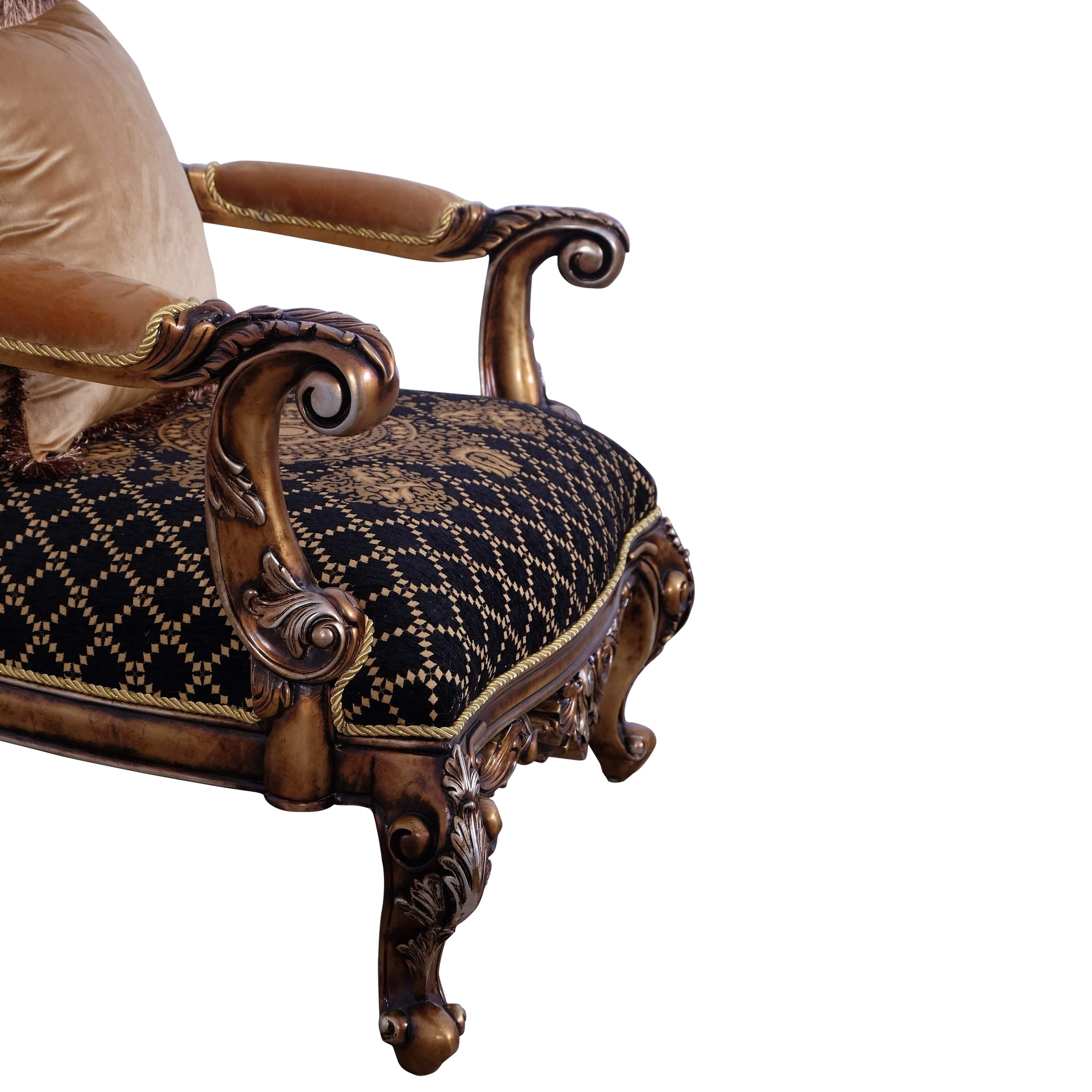 Baroque Style Wooden Chair With Carved Decoration Brown And Black On Sale Overstock 29158145