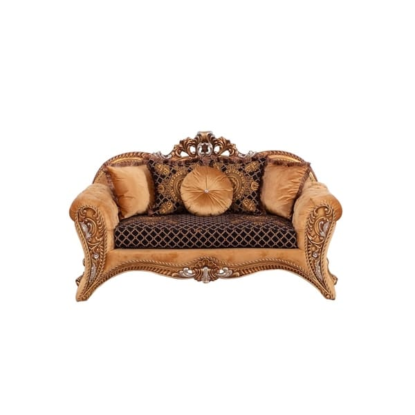Fabric Upholstered Wooden Loveseat In Baroque Style Gold And Brown Overstock 29158188