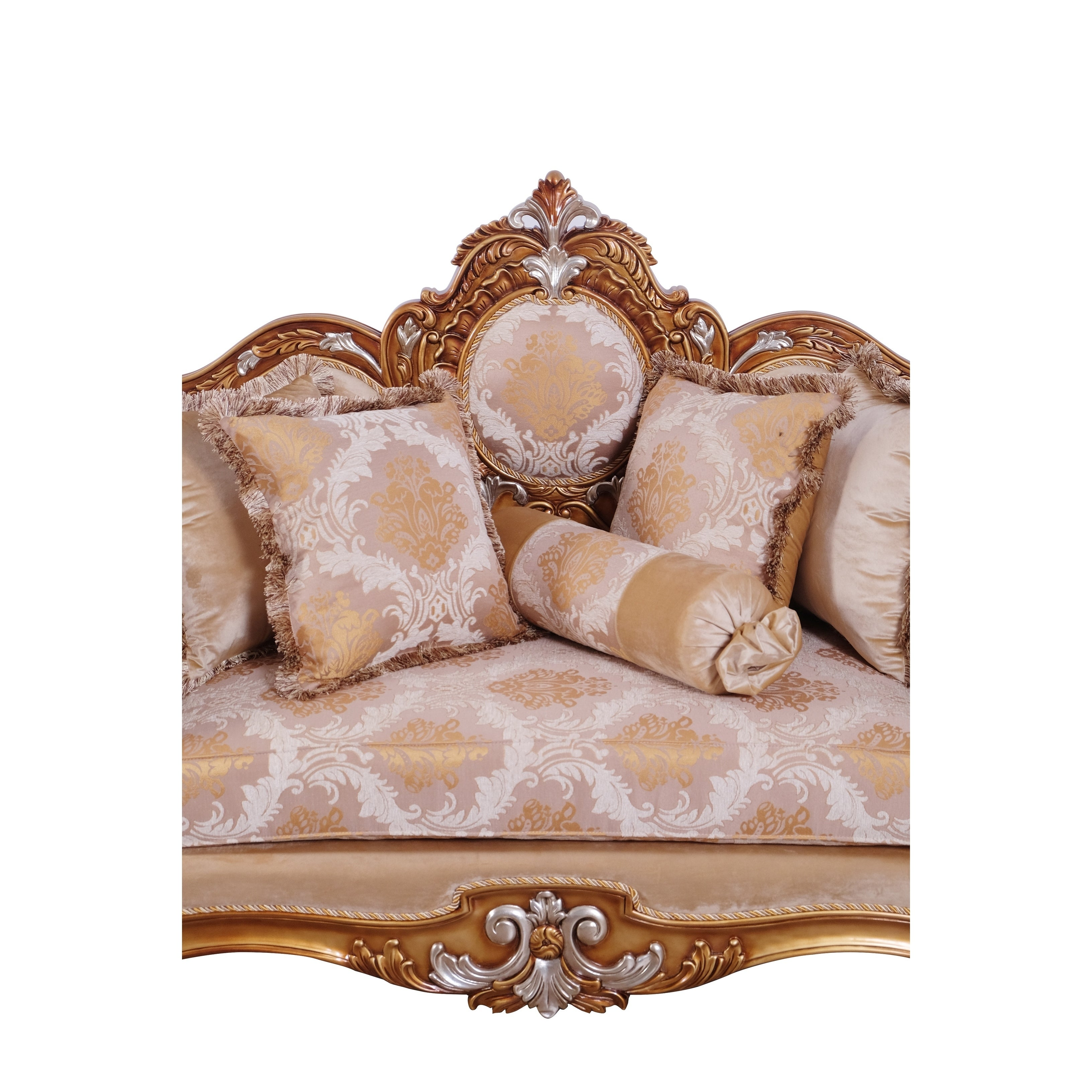 Baroque Style Wooden Loveseat With Rolled Armrest Beige And Gold On Sale Overstock 29158192