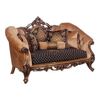 Baroque Style Wooden Loveseat With Carved Decoration Brown And Black Overstock 29158193