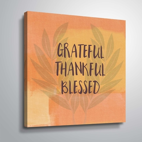 ArtWall Grateful Thankful Blessed Gallery Wrapped Canvas