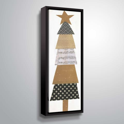 ArtWall Earth Tones Whimsical Christmas Tree Gallery Wrapped Floater-framed Canvas
