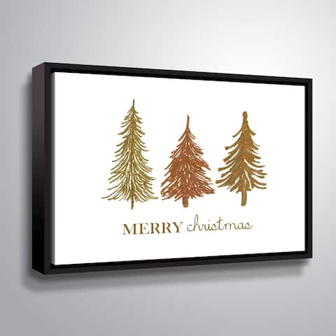 ArtWall Three Trees Merry Christmas Gallery Wrapped Floater-framed Canvas